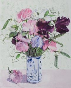 Sweet Peas in blue and white Pot