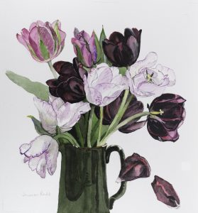 Tulips in Green Jug
